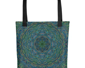 Green Tote bag, Sublimation, Printed Tote Bag, Colorful Tote Bag, Water Resistant Tote Bag, Abstract Art Tote