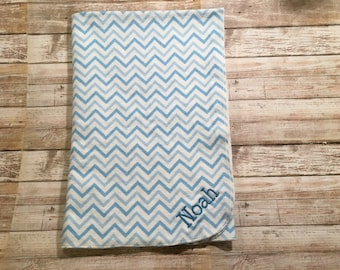 Personalized Chevron Print Flannel Receiving Blanket for a Baby Boy