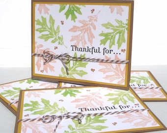 Handmade Thank You Stationary - Thankful For Note Cards - Set of 4 Handmade and Hand Stamped Blank Cards for Fall and Thanksgiving
