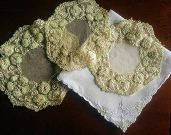Vintage Linen with Doilies, green