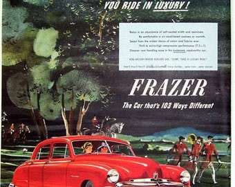 1949 Red Frazer Car, The Frazer Manhattan, The Pride of Willow Run, Ride in Luxury, Antique Car Ad, Classic Car Ad, Vintage Magazine Ad