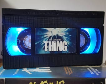 Retro VHS Lamp The Thing John Carpenter Night Light Table Lamp, Horror Movie . Order any movie! Great personal gift. Man Cave Mothers Day.