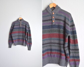 SALE // Size XL // STRIPED Wool Sweater // Grey - Knit Pullover - Shawl-Like Collar - Vintage '80s.
