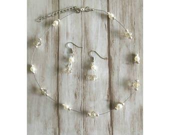 Bridal jewelry / white / off-white / crème / wedding / Bridal jewels 'Anna'