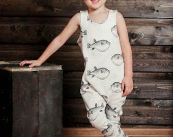 Baby Romper, Organic Cotton, Toddler Romper, Baby Onepiece, Organic Baby Clothes, Newborn Onepiece, Baby Romper Girl, Baby Romper Boy, Fish