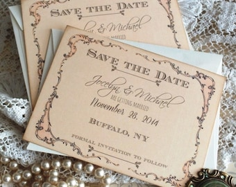 Vintage Romantic Fancy Frame Save the Date Cards Handmade by avintageobsession on etsy