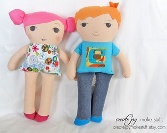 Girl & Boy Doll -Set of 2- Sewing Pattern and Tutorial - simple, easy, handmade, gift, baby, cloth, fabric, softie, stuffed, soft, toy