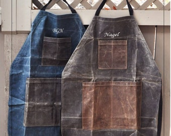 Monogrammed Apron, Personalized Apron, Monogrammed Mens Apron, Waxed Canvas Apron, Personalized Mens Apron, Grill Apron, Fathers Day Gift