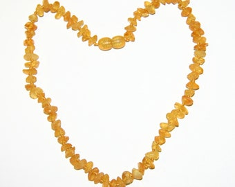 Raw unpolished Baltic amber baby necklace, honey color beads 26v