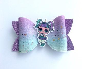 LOL Surprise doll unicorn, hair bow, clips, hair accessories, confetti