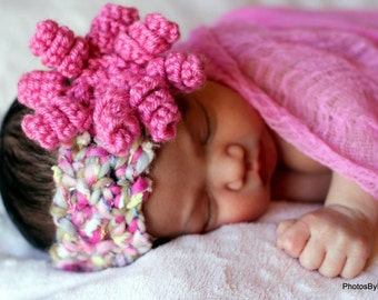 BABY Hat CROCHET PATTERN Headband with Curly-Q Flower