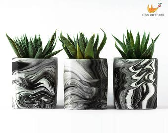 Made to Order ANY COLOUR Marbled Geometric Succulent Planter / Container / Unique Gift