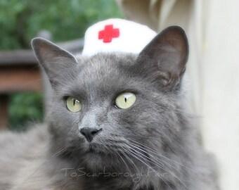 Nurse Cat Hat - Vintage Style Pet Nurse - Pet Halloween Costume - Cat Photo Prop - Guinea Pig Hat - Bearded Dragon Hat - Ferret Hat