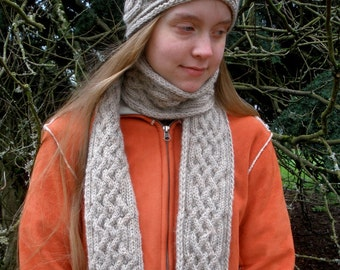 Saxon Braid Cabled Cap and Scarf Combo PDF Knitting Patterns cabled hat and long scarf