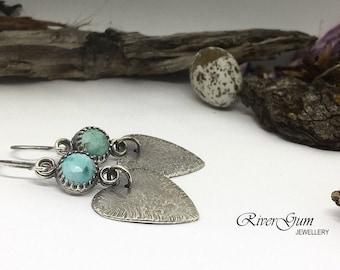 Sterling Silver Turquoise Earrings, Silver Dangle Earrings, Silver Heart Earrings, Drop Earrings, Metalsmith Jewelry, Handmade Earrings