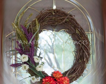 Bright Summer Wreath - Spring Wreath - Everyday Wreath - All Occasions Wreath - Bright Red-Orange Dahlias - Grapevine