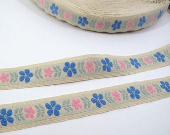 "Floral Ribbon, Pastel Ribbon, Jacquard Ribbon, Vintage Sewing Trim, Tyrolean Trim, Daisy Ribbon, Brocade Ribbon,  7/8"" Wide, 3 Yards"