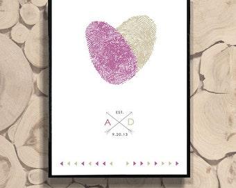 Custom Wedding Gift for Lesbian Wedding Gay Wedding with Personalized Fingerprints Wedding Guest Book Idea