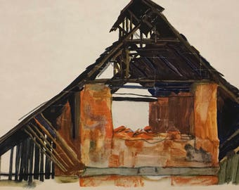 """Egon Schiele """"Old Brick-Shack"""" from Egon Schiele-As a Draughtman by Otto Denesch, 1950, 9.25 x 13.5 inches"""