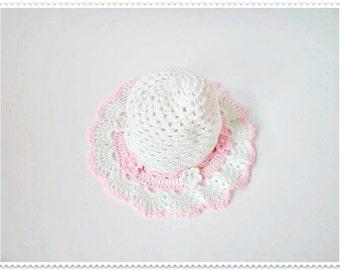 Crochet baby hat, Pink baby hat, Baby summer hat, Baby girl hat, Knitted baby hat, Girl's hat, Summer baby hat