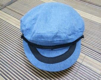 Rare Vintage Captain Cap/Biker Cap Hat/Size 57/Rockabilly