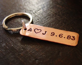Couples Key Chain, Personalized Initials, Custom Wedding Date, Hand Stamped Copper, Anniversary Gift, Copper Gift, Husband Gift, Wife Gift