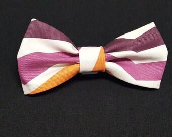 Purple Violet Orange Stripes Bow Ties