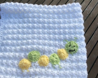 Crochet baby  blanket with caterpillar appliqué  Boy/girl