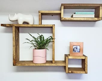 Mid Century Modern rustic wood shelf