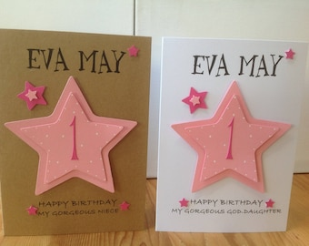 Handmade personalised 1st birthday card - personalised with name and age - 1st,2nd,3rd ,4th etc. daughter, granddaughter,goddaughter,niece