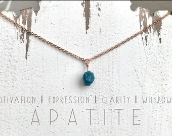 Raw Apatite Necklace. Delicate Crystal Necklace. Mood-Boosting Jewelry. Crystal Healing.