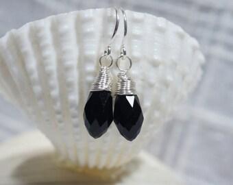 Black Drop Earrings Tiny Briolette Wire Wrapped  Dangle Silver wire earrings