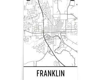 Franklin Map, Franklin Art, Franklin Print, Franklin IN Poster, Franklin Wall Art, Franklin Gift, Map of Franklin, Franklin Decor, Map Art