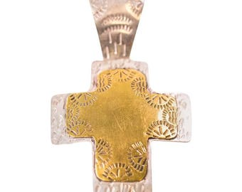 1960s Retro Vintage Mexican Sterling Silver Cross Pendant, VJ #372B