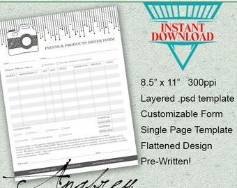 Print & Product Order Form for Photographers, Photoshop Template, Instant Download