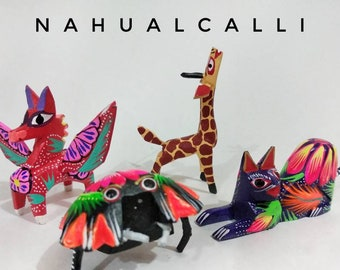 Set of 4 Mexican Alebrijes | Alebrijes Mini Oaxaca | Oaxaca Wood Carved Alebrije