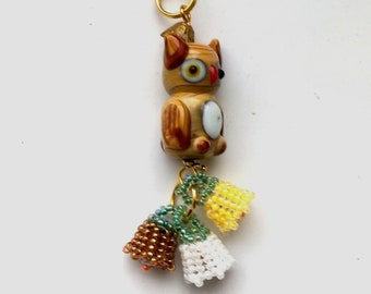 Beadwoven Owl Floral Pendant, Glass Lampwork Cute Brown Owl, White& Yellow Flowers Necklace, Gold Plated Chain- Spring Owl by enchantedbeads
