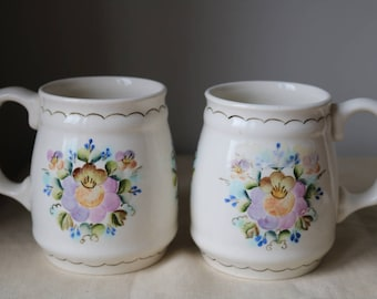 Russian Porcelain Pair of Flower Tankards Mugs  Hand painted  Excellent condition
