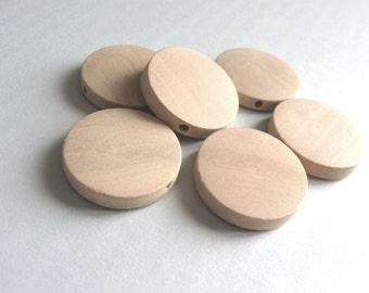 6 perles de bois naturel en rondelle de 25mm