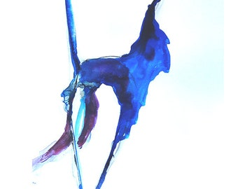 Contemporary dancer drawing-Abstract,blue expressive drawing-contemporary