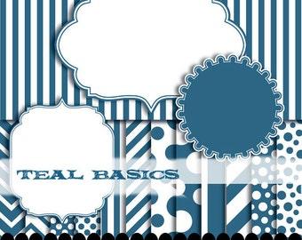 Teal digital paper frame, frame clip art scrapbook kit, blue digital paper, scallop circle : p0176 3s2750 IP