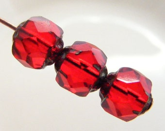 6mm Renaissance Beads Czech Glass Fire Polish Ruby Picasso Carved  (Qty 12) si-6RFP-RRP