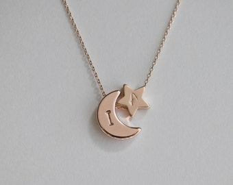 Initial rose gold Moon and star necklace, Moon and star charm  necklace,  bridesmaid gift, gift necklace,dainty initial necklace