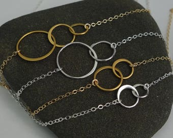 New mom gift Double Circle Necklace Silver or Gold  Interlocking 2 Circle Sterling Circle Necklace Bridesmaid Jewelry