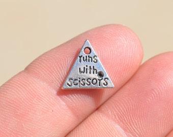 10 Runs with Scissors Silver Tone Charms SC2287