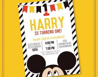 20% OFF SALE Mickey Mouse Invitation - Mickey Mouse Clubhouse Invitation - Mickey Mouse Invitation - Mickey Invitation - Printable