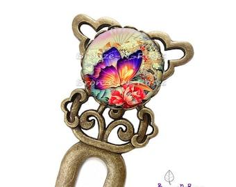 "This hair stick ""Sublime"" papillon""orange fantasy glass cabochon bronze jewelry"