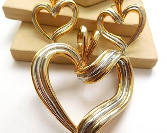 Retro Vintage Mixed Metal Silver Gold Modernist Heart Pendant Earrings Set D50