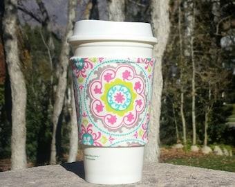 FREE SHIPPING UPGRADE with minimum -  Fabric coffee cozy / cup sleeve / coffee sleeve / drink cozy - Bold Mandala Flowers