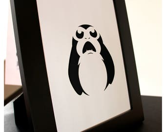 Star Wars Porg Fine Paper-cut Art Framed.